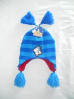 Striped Sonic Beanie with Poms by BoomSonic514