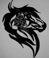 Tribal Horse with Celtic Knot Tattoo by DamnedWind