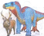 Iguanodon and Red Stag by MickeyRayRex