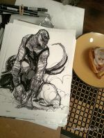 lizard sketch and a pastry by CHARLESRATTERAY