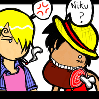 OP -- Luffy and Sanji by kattlegnat
