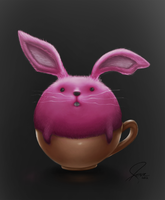 Bunny stuck in a cup by annezca