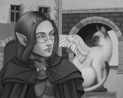 A Tressym and Her Tiefling by darchala
