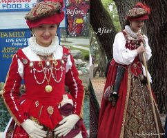 Red gown - before and after by ladylucrezia