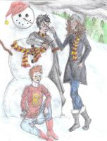 Golden Trio's Snowman Fun by NightOwl70