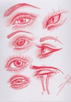 Eye Study: Red Colored Pencil by CapnSavy