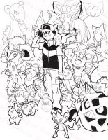 Satoshi + his Pokemon SPOILERS by Pink-Shimmer