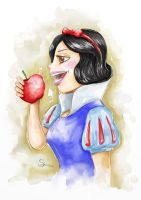 Snow White - Watercolor by EMSTURIAO