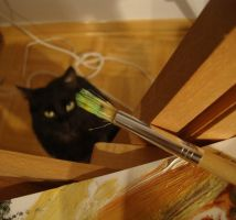 My cat wants to paint with me :) by MArt120