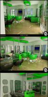 Green Kitchen N' Living Room by Semsa
