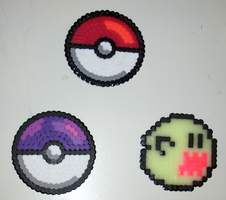Perler beads - coasters by MandyNeko