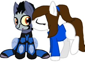 MLP Danny and Rook! [Kiss on the Cheek] by RubytheCat12