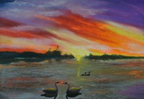 Again sunset painting by Harmina