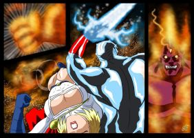 Captain Atom and Powergirl  - Flame of Py'tar (3) by adamantis
