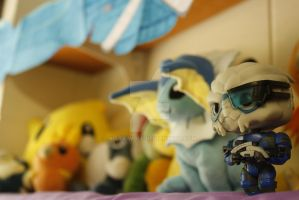 Garrus and Plushies by Niara-Wolf