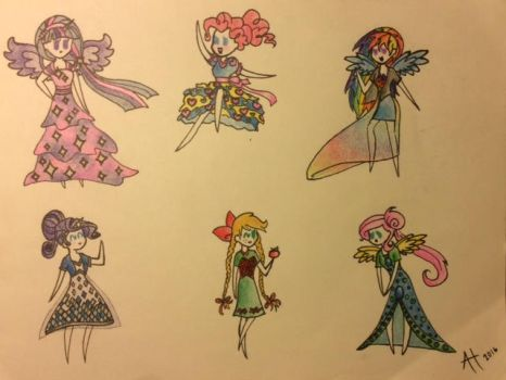 MLP Human dress designs by pandahandsome