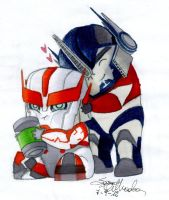 Optimus and Ratchet chibi by Seiten85
