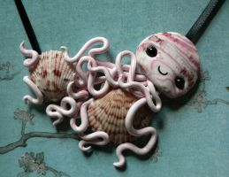 Calico Scallop Hoarding Jellyfish Necklace by BlackMagdalena