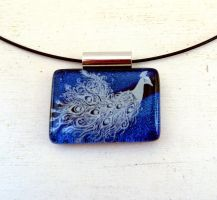 Peacock Fused Glass Pendant by FusedElegance