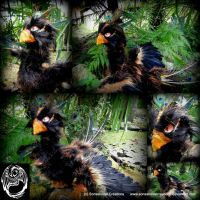 Large Midnight Melody - OOAK poseable artdoll bird by SonsationalCreations