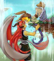 Lovers by the Waterfall by a-fools-paradise