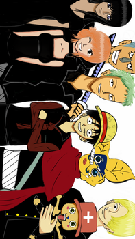 Luffy and his crewmates in black suit by Laiburger