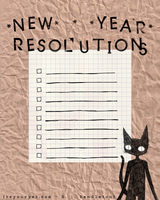 New Years Resolutions FREE Printable - Black Cats by beyourpet