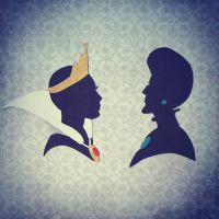Queen Grimhilde and Lady Tremaine Silhouettes by broopimus