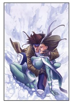 Rogue and  Gambit - Watercolor by taguiar