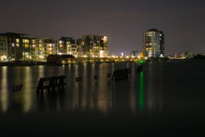 Southern Harbor of Copenhagen at Night by martineriksen