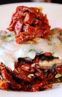 Sun Dried Tomato with Cheese on Mushrooms by Sunsquid