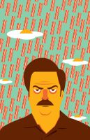 Raining Breakfast - Ron Swanson Poster by FantasySystem