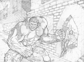 Hulk Smash Wolverine Final Pencils by RAM by ramstudios1