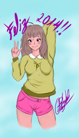 Bee from Bee and Puppycat - Happy New Year 2014 by carlosart1
