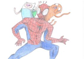 Spider-man's Adventure time-Coloured by RUBYREDMOND