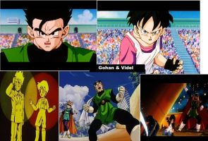 Gohan and Videl collage by Justice-Personified