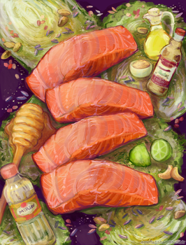 Salmon, Rice, Cabbage by crystal-kyogre