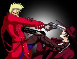 Vash Vs. Arucard by Wolfie2112
