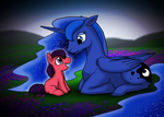 Princess Luna and Violet Rose by DragonwolfRooke