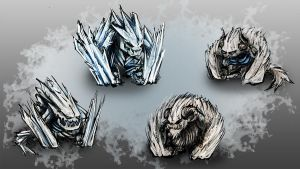 Ice Golem Concepts by Kritzlof