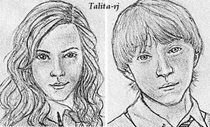 Ron and Hermione faces by talita-rj