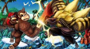 Donkey Kong VS The Rajang King by wyvernsmasher