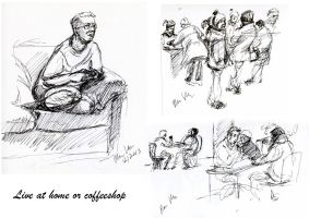 Figurdrawing - quick gestures and poses with ink by hakepe
