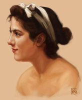 Bouguereau Head Study by feliciacano