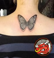 Black/Grey Butterfly Tattoo by DirkDriekusBullseye