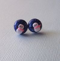 Happy Snowman Kawaii Winter studs Polymer Clay by pitterpatterpolymer