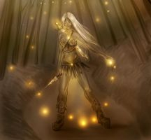 Wood fairy warrior by dividedmind