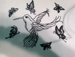 Hummingbird and Butterflies by Tonnie95