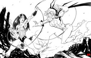 Wonder Woman vs Power Girl by KomicKarl