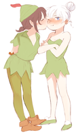 Tinker Bell And Peter Pan by ram-jam